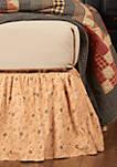 Tan Primitive Bedding Cobblestone Cotton Floral Gathered Bed Skirt