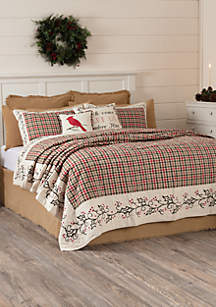 Ashton & Willow White Holiday Decor VHC Hollis Cotton Plaid Stenciled Flax Bedding Quilt