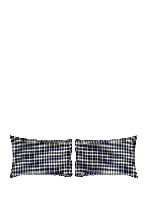 Blue Rustic and Lodge Bedding Carson Blue Plaid Pillow Case Set of 2 Cotton Plaid