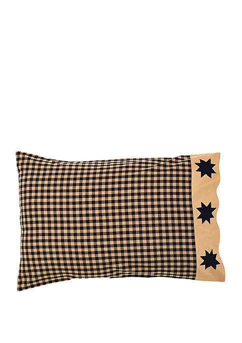 Black Primitive Bedding Lansing Black Pillow Case Set of 2 Cotton Star Appliqued