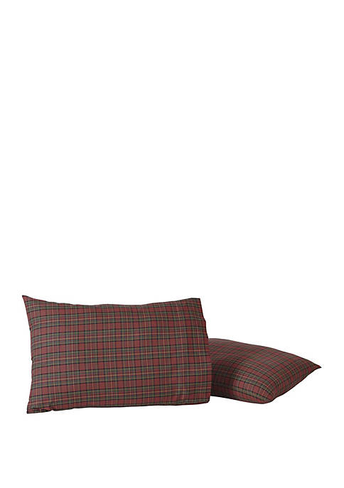 Red Rustic and Lodge Bedding Kilton Red Pillow Case Set of 2 Cotton Plaid