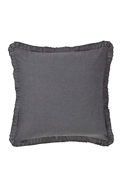 Black Rustic and Lodge Bedding VHC Black Chambray Euro Sham Cotton Solid Chambray