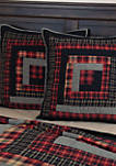 Red Rustic and Lodge Bedding Shasta Cabin Euro Sham Cotton Patchwork Chambray