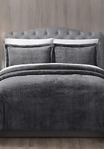 MHF Home Gray Faux Fur Bell 3 Piece Comforter Set