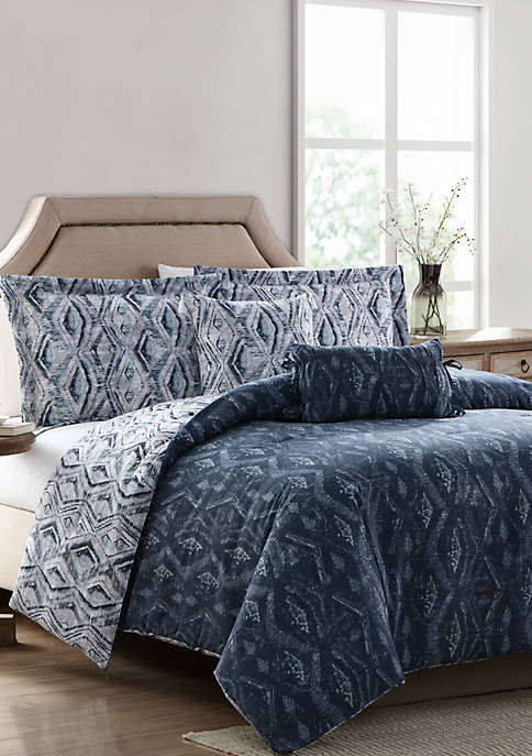 MHF Home Allyson Blue Ikat 5 Piece Reversible