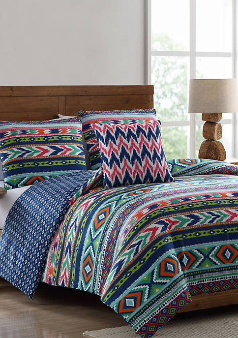 MHF Home Ava Tribal Print Reversible Comforter Set