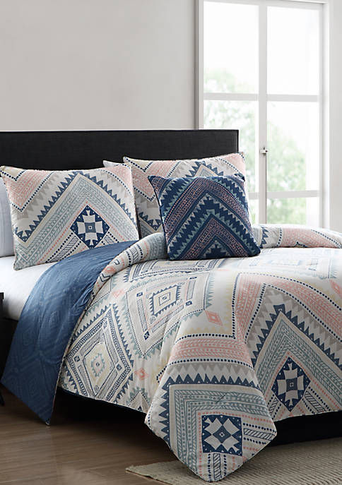 MHF Home Sarah Blue and Pink Tribal Print