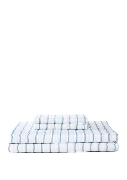 Washed Percale Cotton Printed Blue Stripe Sheet Set