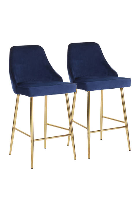 LumiSource Set of 2 Marcel Counter Stool Gold