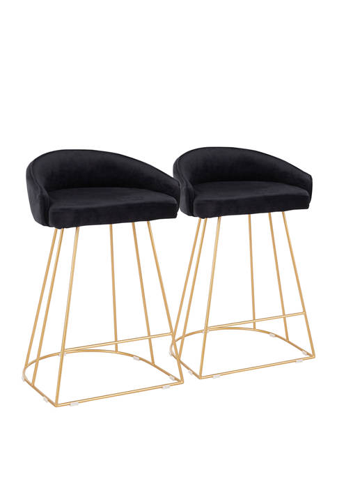 LumiSource Set of 2 Canary Counter Stool Upholstered