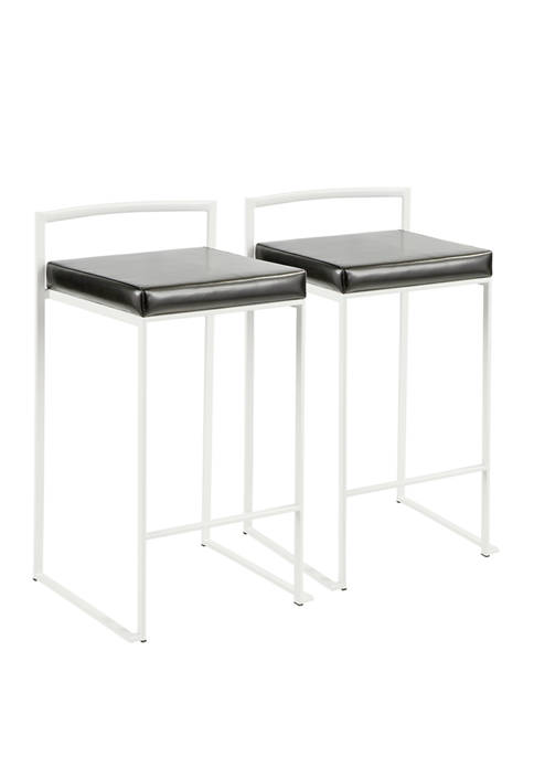 LumiSource Set of 2 Fuji Counter Stool White