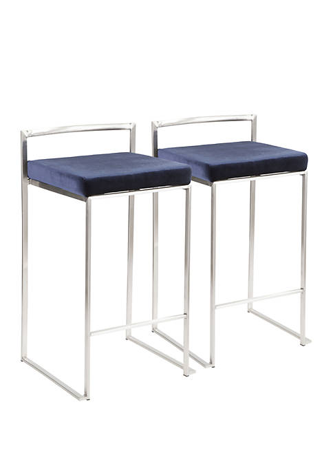 LumiSource Fuji Fabric Counter Stool Pair