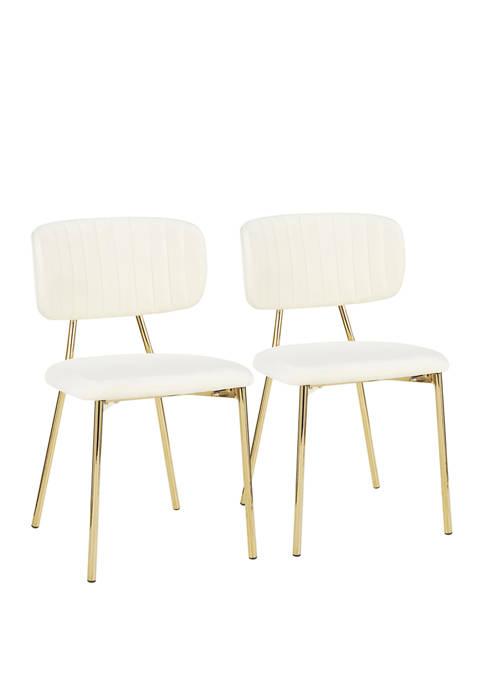 LumiSource Set of 2 Bouton Chair Gold
