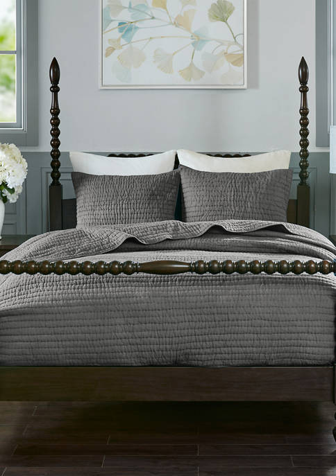 Madison Park Signature Serene Cotton Hand Quilted Coverlet
