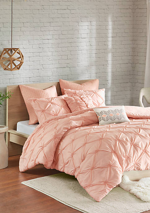 Talia 7 Piece Elastic Embroidered Chambray Duvet Set