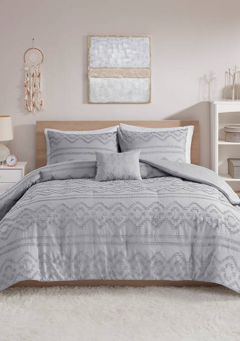 Annie Solid Clipped Jacquard Comforter Set