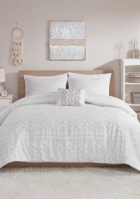 Intelligent Design Annie Solid Clipped Jacquard Comforter Set