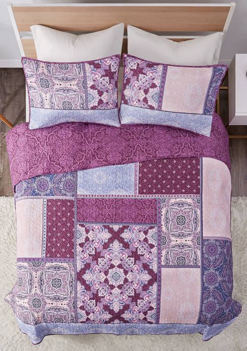 Intelligent Design Ezra Printed Reversible Cotton Coverlet Set