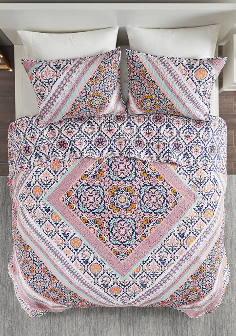 Marabella Printed Reversible Cotton Coverlet Set