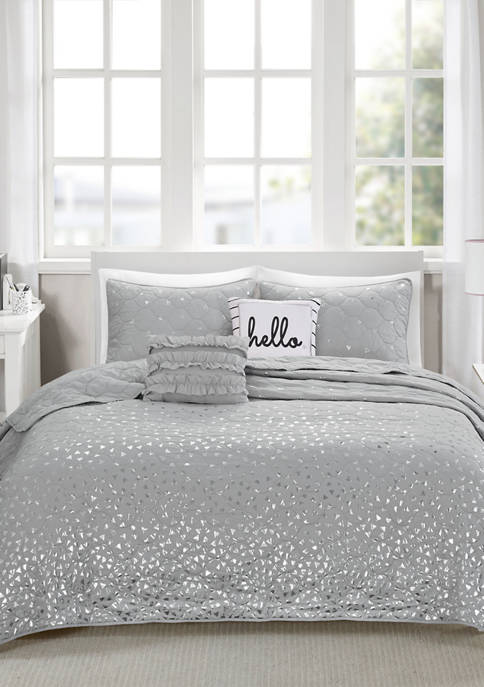 Intelligent Design Zoey Metallic Printed Coverlet Set