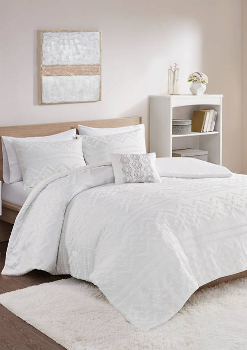 Annie Solid Clipped Jacquard Duvet Cover Set