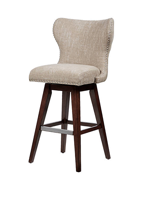 Hancock High Wingback Button Tufted Upholstered 32 inch Swivel Bar Stool with Nailhead Accent