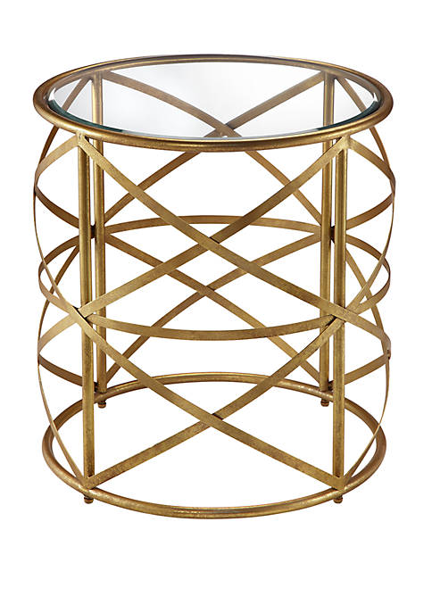 Nora 20-inch Round End Table with Metallic Gold Metal Frame and Glass Top