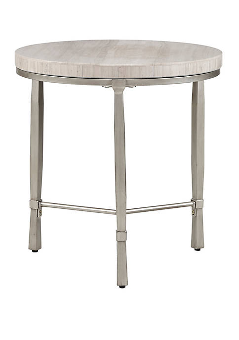 Reese Real Marble Round End Table Metal Base