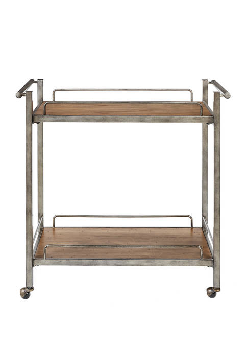 Martha Stewart Jemma Silver Metal Bar Cart