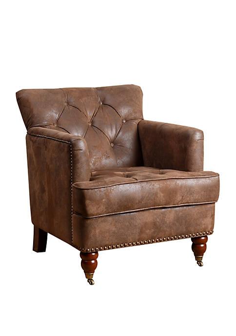 Abbyson Taft Antique Brown Fabric Club Chair