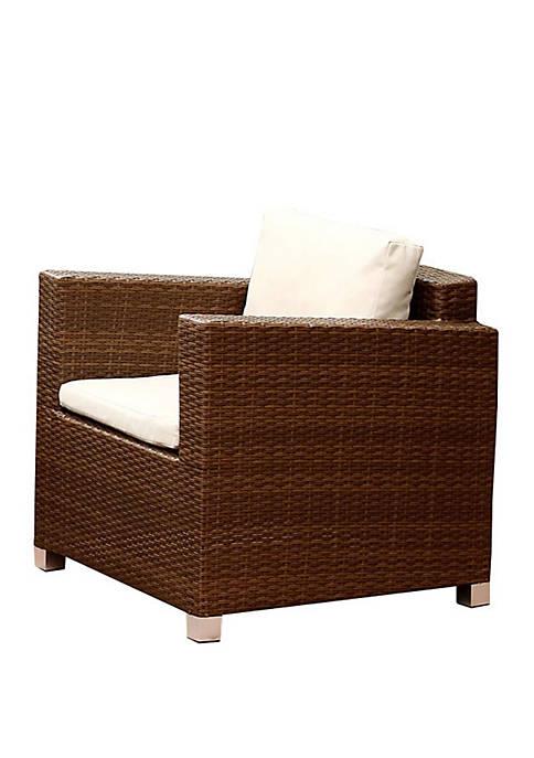 Abbyson Marbella Brown Outdoor Wicker Armchair