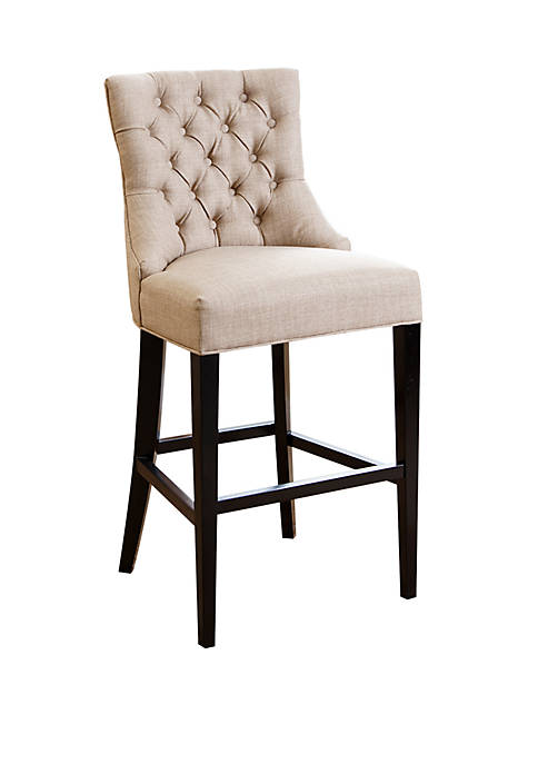 Abbyson Malabar Beige Tufted Upholstered Barstool