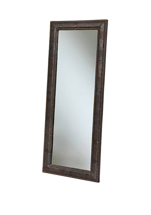 Abbyson Claire Brown Leather Floor Mirror