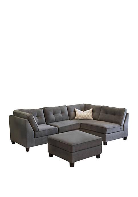 Abbyson Declan 5 Piece Modular Fabric Sofa &