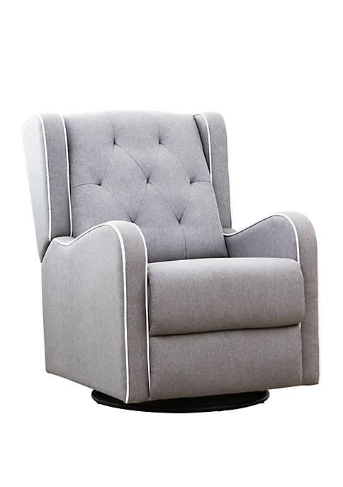 Abbyson Oxford Gray Tufted Fabric Swivel Recliner