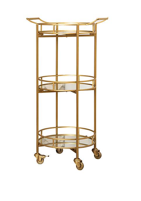 Abbyson Hyatt Gold 3 Tier Cylinder Bar Cart