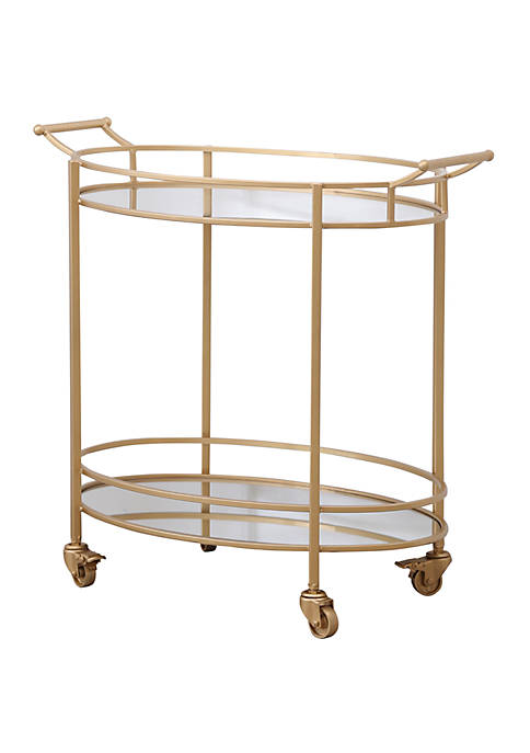 Hyatt Gold Oval Round  Bar Cart