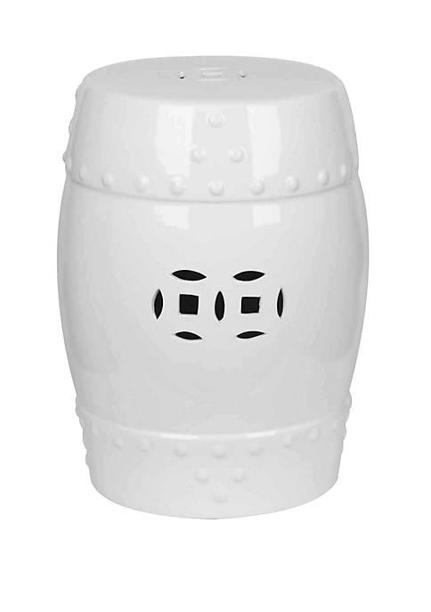 Abbyson Mari White Ceramic Garden Stool