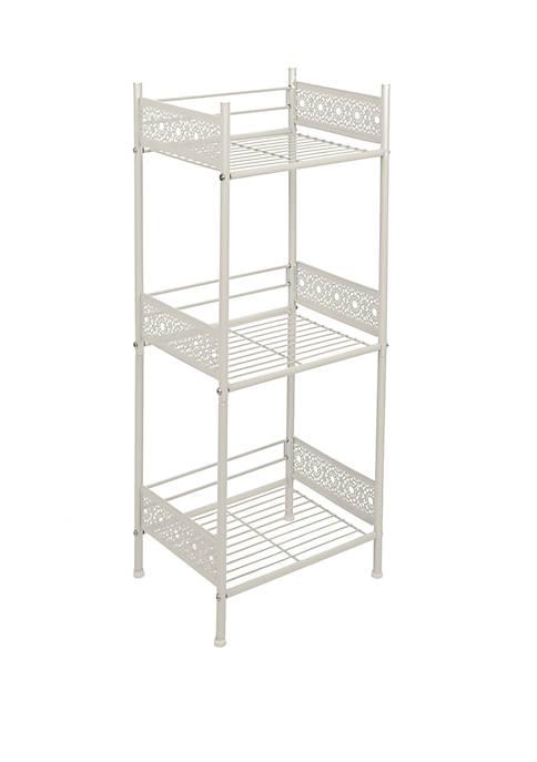 Filigree Bathroom Collection Floor Shelf, White