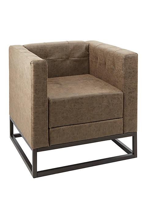 Carraway Square Upholstered Accent Chair with Metal Base