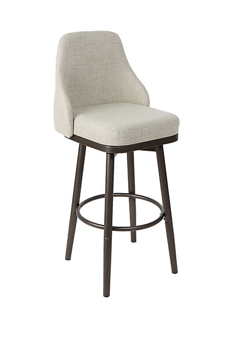 Cyrene Upholstered Curved Back Bar Stool with Metal Adjustable Legs