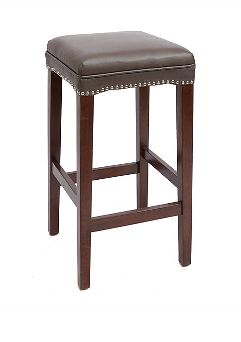 29 Inch Dover Upholstered Wooden Saddle Stool