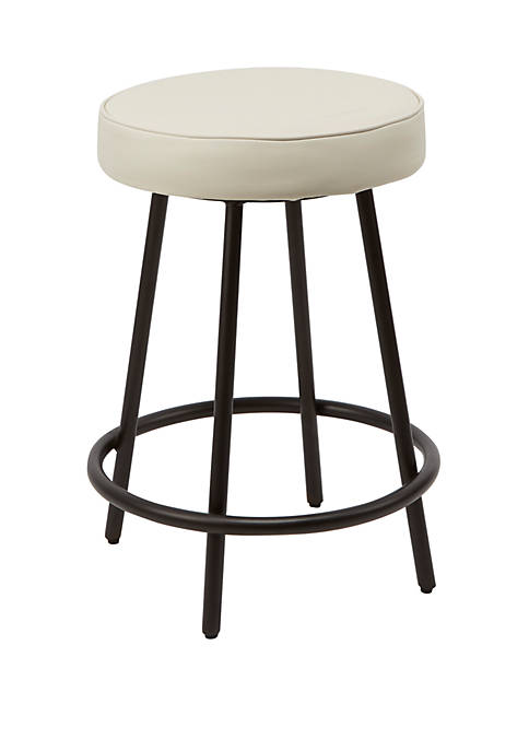 Silverwood 24 Inch Carly Upholstered Round Backless Metal