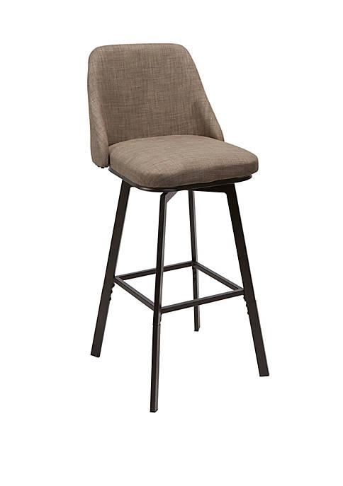 Briar Curved Back Upholstered Barstool with Adjustable Height Metal Frame