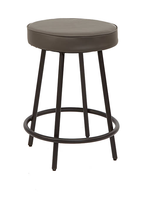 24 Inch Carly Upholstered Round Backless Metal Barstool