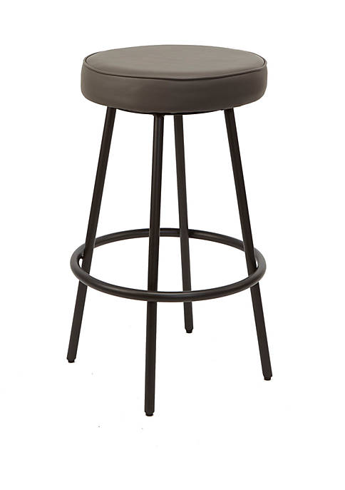 29 Inch Carly Upholstered Round Backless Metal Barstool