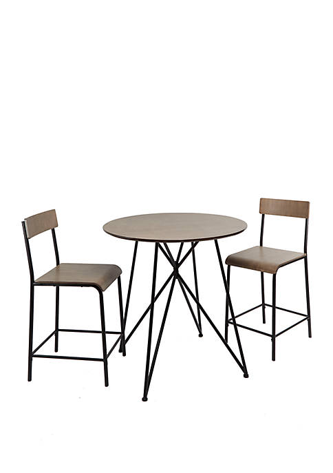 Declean Metal Wood 3 Piece Pub Height Dining Set