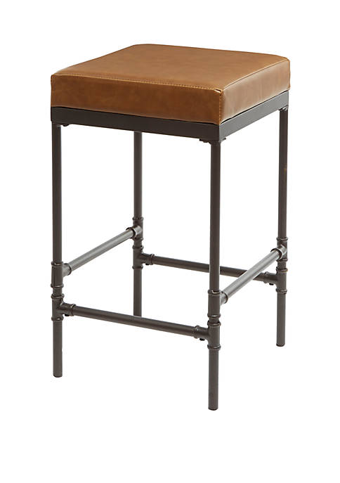 Powell 24 Inch Pipe Fitting Upholstered Barstool