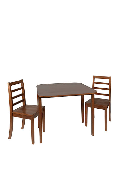 Mason 3 Piece Drop Leaf Dining Set with Ladderback Chairs