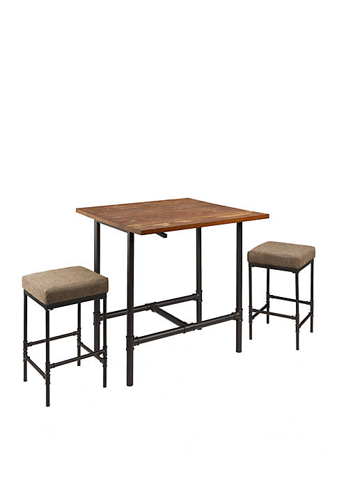 Devlin Pipe Fitting Pub Height 3 Piece Dining Set